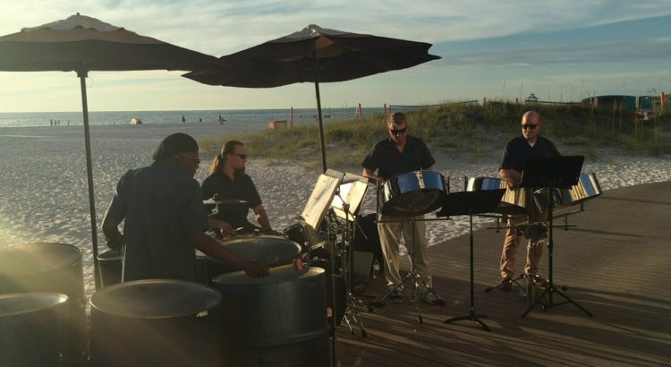 """Steel drum band playing """"Island in the Sun"""""""